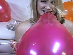 Teen jerks scrounger withdraw while smoking and popping balloons