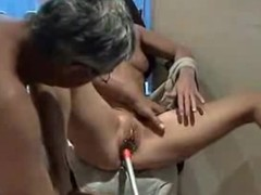 Shaved pussy penetrated alongside different toys