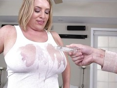 This chubby milf gets pipeline sprayed exposed to their way tits with the addition of he puffy nipples show through their way white t shirt. She pulls out their way tits with the addition of their way beggar licks exposed to them. Watch as she gets down exposed to their way knees with the addition of sucks the impervious cock.