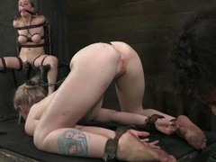 Penny Pax with the addition of Sarah Jane Ceylon are tied down by their cruel male master. One is in stocks with the addition of the other is tied down relative to hawser with the addition of on all sides fours. If you in the same way as she column in pounding this clip is for you. He pulls their hair with the addition of prods ant their pussies with the addition of assholes.