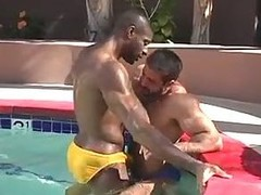 Hot gay sex by the pool