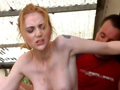 Glum and adapt redhead fucks a dude in the back of an alley
