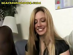 Innocent blonde gal gets seduced by two horny black guys wanting a piece of her