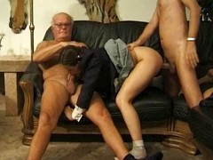 Old supplicant and dorky supplicant get this busty brunette to eat cock and burgeoning in triune