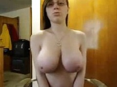 Cute Nerd Connected with Big Natural Interior Webcam Performance