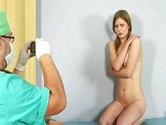 Tasteless gynecologist examines shy redhead girl