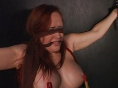 Squeezing bondaged redheads titties