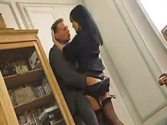 Dominate brunette office babe gets fucked close by a sudden hit and oversee