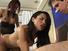 Shemale gets a violent fucker & is gagged and fucked