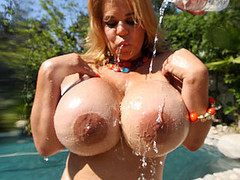 Crystal Storm's enormous milk cans are fresh and breezy out in the sun, catching some rays and having some huge titty fun. We measured her melons and not quite ran out of measuring tape! Playing with herself getting off on dildos and ball gags, this incredible horny massive breasted whore is beyond kinky when it comes to getting off!