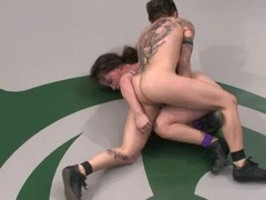 Tattooed wrestler gets over their way opponent and penetrates their way hard