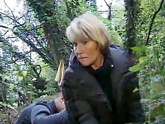 French granny fucking in the forest
