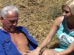 Old farmer seduced hard by young nasty blonde