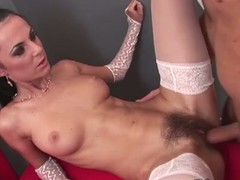 Brunette milf in stockings gets her clam pounded