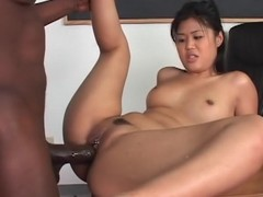 Cute Asian fucked by huge black unearth