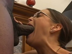 Brunette mom cheyenne sucks stupendous load of shit