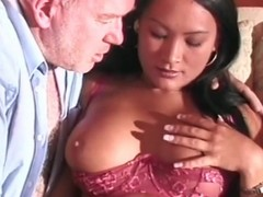Old guy gets a blowjob distance from Asian cutie
