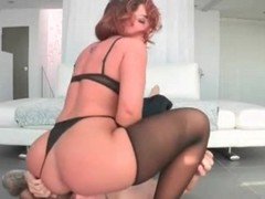 Redhead rides his facet with will not hear of fat ass