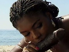 Astute ebony pulchritude gets rammed superior to before rub-down the beach