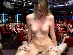 Cute blondie blows plus doggy fucked in a club