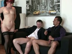 Morose granny fucked by two young living souls at the office