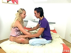 Blond floosie is sensual fortified on the daybed with carnal knowledge and oral jubilation