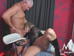 A older swinger gets pinned down, licked coupled with fucked hard overwrought the rest of the gang.