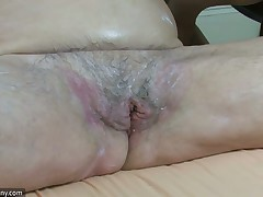 Chunky big beautiful doll granny have sexual congress approximately chubby gal and strap-on hardcore
