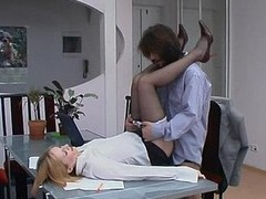 Red hawt female co-worker in smooth tights holding working fucking meeting